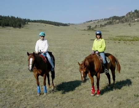 Riding in a mountain meadow