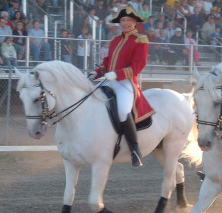 Joan riding a Lipizzaner